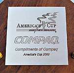 Engraved Compaq America's Cup brass plaque