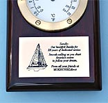 Engraved brass plaque on clock thermometer plaque